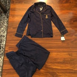 NWT Ralph Lauren satin navy pajamas